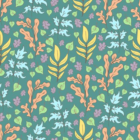 Tree foliage, branches shrubs, branches and leaves seamless pattern, doodle cartoon drawn exotic natural background, hand drawing. Multi-colored plants on green background. Vector illustration