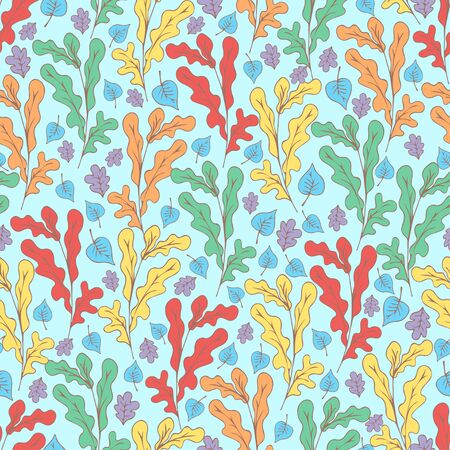 Tree foliage, branches and leaves seamless pattern, doodle cartoon drawn exotic natural background, hand drawing. Multi-colored autumn, spring and summer leaf on blue background. Vector illustration Иллюстрация