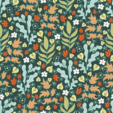 Tree foliage, branches shrubs, branches, leaves and flowers seamless pattern, doodle cartoon natural background, hand drawing. Multi-colored plants on dark green background. Vector illustration