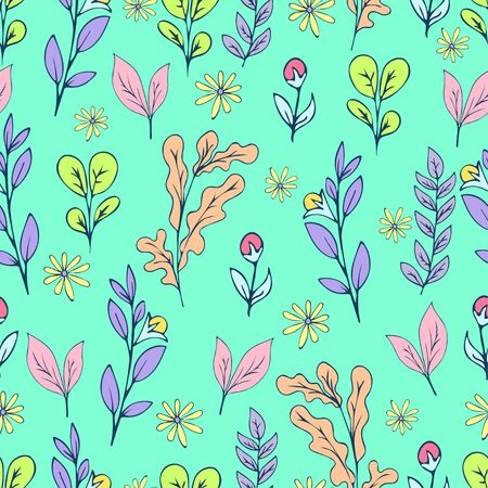 Colorful floral seamless pattern, doodle cartoon drawn flowers, exotic natural background, hand drawing. Multi-colored plant branches, buds, petals and leaves on green backdrop. Vector illustration Иллюстрация