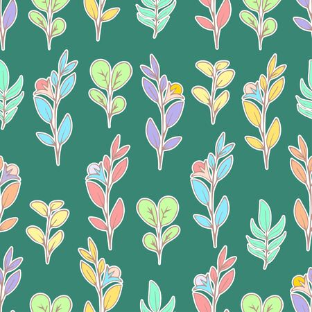 Colorful floral seamless pattern, doodle cartoon drawn flowers, exotic natural background, hand drawing. Multi-colored plant branches, buds, petals and leaves on green backdrop. Vector illustration 矢量图像