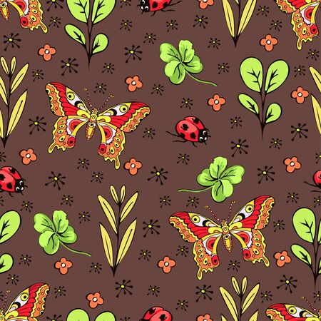 Cartoon drawing colorful insects, flowers and plants seamless pattern, floral background. Bright multi-colored butterflies, ladybug, buds, leaves and branches on brown backdrop. Vector illustration