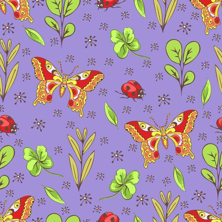 Cartoon drawing colorful insects, flowers and plants seamless pattern, floral background. Bright multi-colored butterflies, ladybug, buds, leaves and branches on violet backdrop. Vector illustration