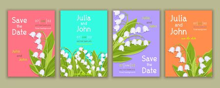Set of templates invitation, banner, cover, poster, greeting card, anniversary, flyer with colorful floral design with lily of the valley flowers, bright multicolor background. Vector illustration