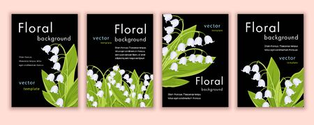 Set of templates invitation, banner, cover, poster, greeting card, anniversary, flyer with colorful floral design with white lily of the valley flowers on black background. Vector illustration 矢量图像
