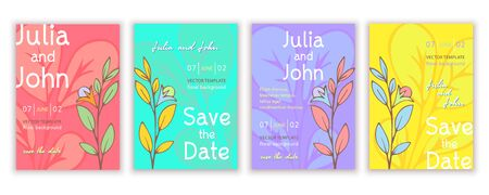 Set of templates invitations, banners, creative covers, posters, greeting cards, anniversary, flyer with colorful bright abstract floral design, vintage multicolor background. Vector illustration
