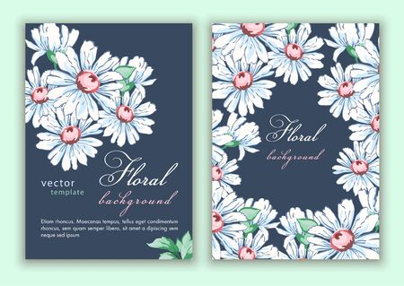 Template double sided cover, poster, greeting card, invitation, banner, flyer with colorful abstract floral design with flowers of roses and daisies on dark blue background. Vector illustration