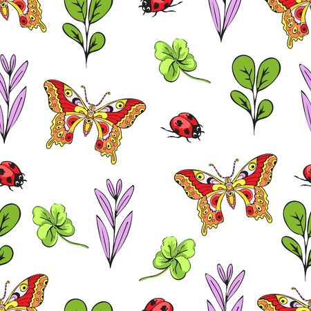 Cartoon drawing colorful insects, flowers and plants seamless pattern, floral background. Bright multi-colored butterflies, ladybug, buds, leaves and branches on white backdrop. Vector illustration 矢量图像