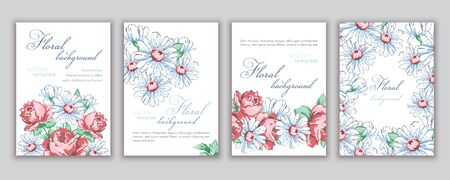 Set of templates banners, creative covers, posters, greeting cards, invitations, flyer with colorful abstract floral design with flowers of roses and daisies on white background. Vector illustration 矢量图像