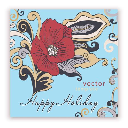 Template square elegant greeting card, banner, cover, poster, anniversary, invitation, flyer with colorful bright abstract floral design with red poppy flower on blue background. Vector illustration