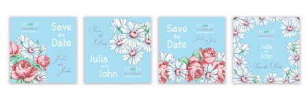 Set of templates invitations, banners, creative covers, posters, greeting cards, flyer with colorful abstract floral design with flowers of roses and daisies on blue background. Vector illustration