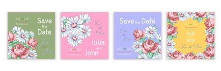 Set of templates invitations, banners, covers, posters, greeting cards, flyer with colorful abstract floral design with flowers of roses and daisies on multi-colored background. Vector illustration