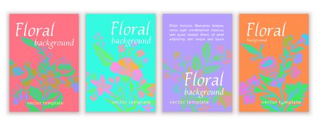 Set of templates banners, creative covers, posters, greeting cards, anniversary, invitations, flyer with colorful bright abstract floral design, vintage multicolor background. Vector illustration 矢量图像