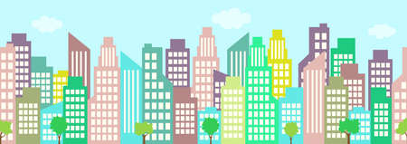 Cityscape, city houses seamless border, urban multi-story building, municipal background, town frame, flat drawing. High-rise skyscrapers, isolated high-rise buildings in a row. Vector illustratio