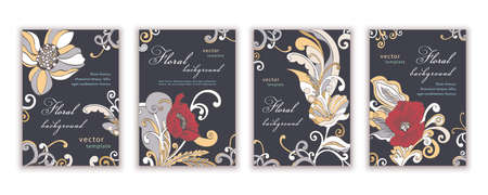 Set of templates elegant greeting cards, banners, covers, posters, anniversary, invitations, flyer with colorful abstract floral design with poppy flowers on dark background. Vector illustration
