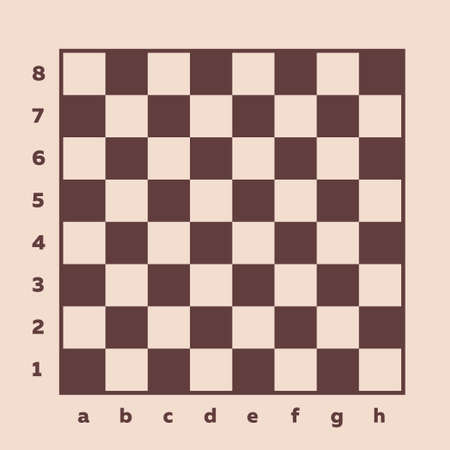 Chess board view from above, realistic drawing. Square field for the board game with chess notation, for arranging chess pieces, intellectual game for two players. Vector illustration