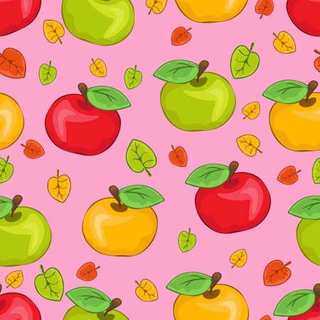 Red, yellow and green painted apples and multicolored leaves, colorful juicy fruits on pink background. For the fabric design, bright prints, cute wallpapers, wrapping, decoration. Vector illustration