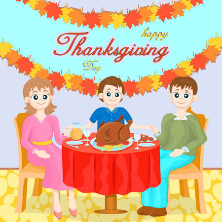 Thanksgiving Family Gala Dinner, colorful cartoon hand drawing. Mom, dad and son are sitting behind a table covered with festive treats and turkey hold hands in decorated room. Vector illustration Illustration
