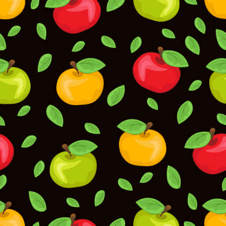 Red, yellow and green painted apples and multicolored leaves, colorful juicy fruits on black background. For the fabric design, bright prints, cute wallpapers, wrapping, decoration. Vector illustration