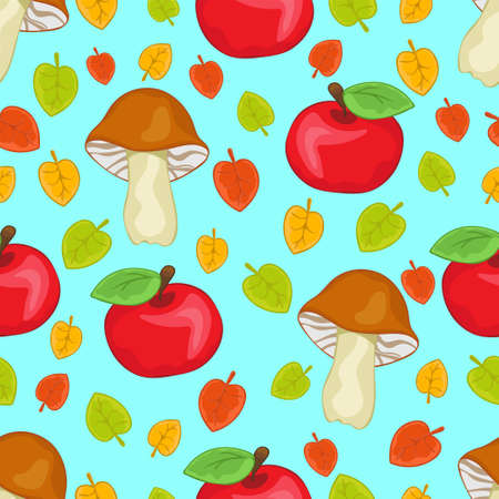 Apples, mushrooms and leaves seamless pattern, cartoon hand drawing, colorful autumn forest background. For the design of children's prints, fabric, bright cute wallpapers. Vector illustration