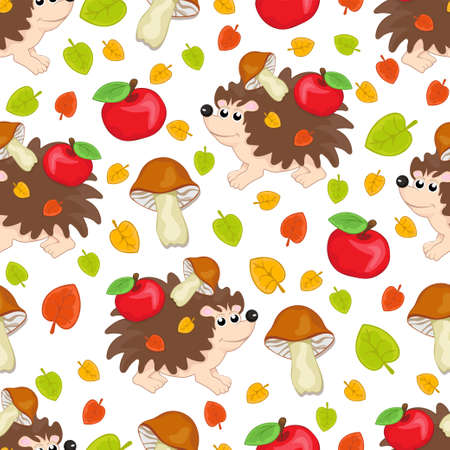 Cute hedgehog, multicolored apples and mushrooms seamless pattern, cartoon hand drawing, colorful autumn background. For design of children's prints, fabric, bright wallpapers. Vector illustration