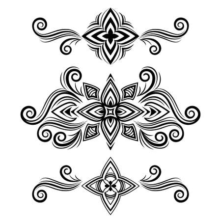 Set of vector abstract ornament, curve swirls patterns with flowers and curls, line ethnic drawing. Black vintage traceries isolated on white background for frame design, border, prints, tattoo