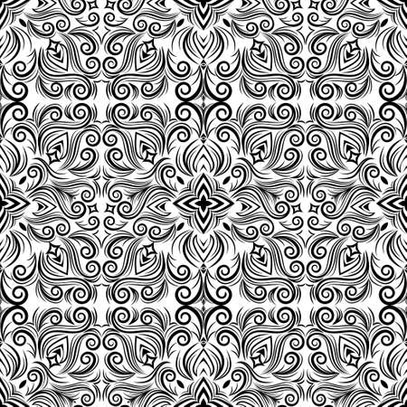 Vector abstract black and white ornament, curve swirls seamless pattern with flowers and curls, line ethnic drawing. Vintage traceries for fabric design, wallpaper, wrapping, print, frame, decorating