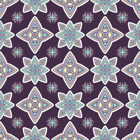 Abstract colorful ornament, oriental curve swirls seamless pattern with flowers and curl, openwork. Multicolored tracery on violet background, for fabric design, wallpaper, print. Vector illustration Иллюстрация