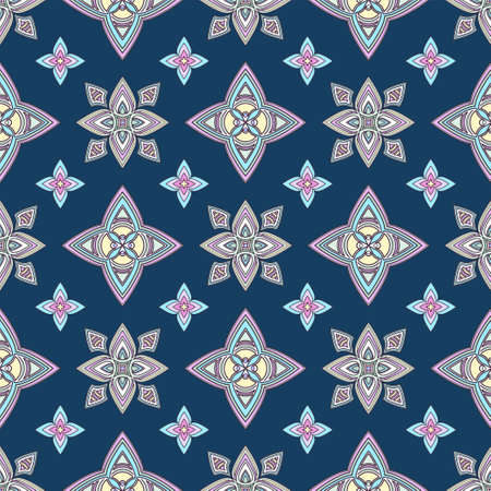 Abstract colorful ornament, oriental curve swirls seamless pattern with flowers and curl, openwork. Multicolored tracery on blue background, for fabric design, wallpaper, print. Vector illustration