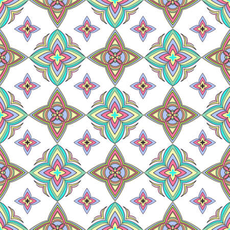 Abstract colorful ornament, oriental curve swirls seamless pattern with flowers and curl, openwork. Multicolored tracery on white background, for fabric design, wallpaper, print. Vector illustration