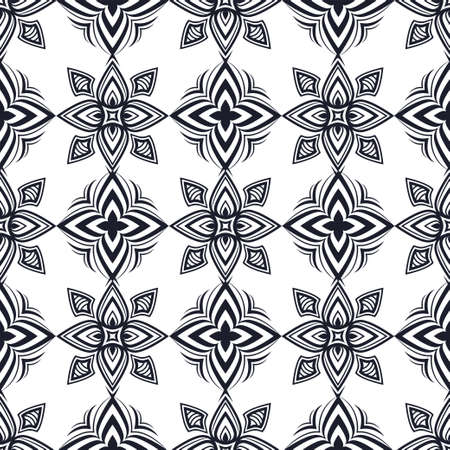 Abstract black and white ornament, oriental curve swirls seamless pattern with flowers and curls, openwork background. Vintage traceries for fabric design, wallpaper, print. Vector illustration