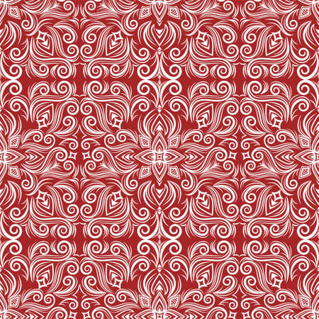Vector abstract ornament, curve swirls seamless pattern with flowers and curls, line ethnic drawing. Vintage white traceries on red background, for fabric design, wallpaper, wrapping, print, frame