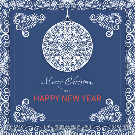 Merry Christmas and happy new year greeting card, holiday banner. White pattern with stylized ornamental Xmas ball and lettering on blue background, cover template, poster, frame. Vector illustration