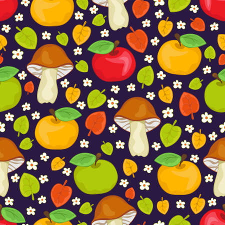 Red, green and yellow apples, mushrooms and leaves seamless pattern, cartoon hand drawing, colorful autumn background. For fabric design, textile prints, bright cute wallpapers. Vector illustration