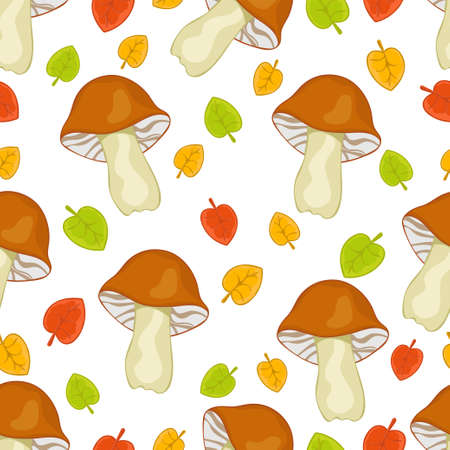 Brown forest mushrooms and autumn leaves seamless pattern, cartoon hand drawing, colorful background. For the design of children's prints, fabric, bright cute wallpapers. Vector illustration