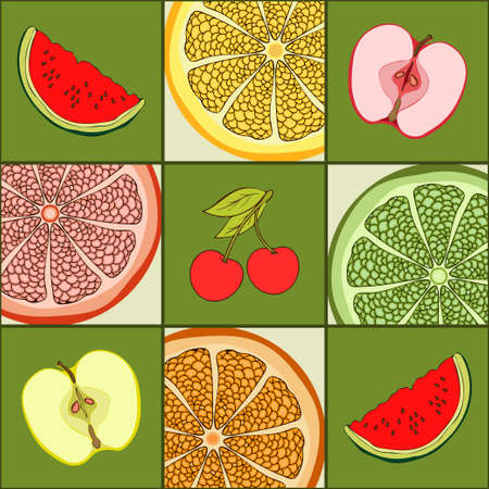Checkered colorful seamless pattern with fruits, food background, hand drawing. Cut apples, slices of watermelon, grapefruit, orange, lime, lemon and cherries in green squares. Vector illustration Иллюстрация