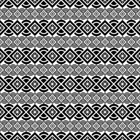 Black and white ornament, graphic ethnic seamless pattern, geometric monochrome background. For fabric design, wrapper, surface, print, texture, decoration. Vector illustration Иллюстрация