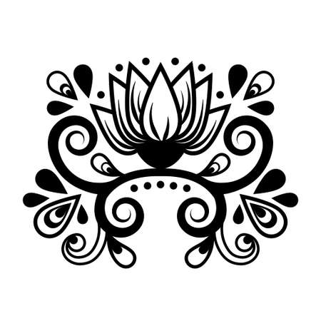 Abstract floral ornament, ethnic pattern, black and white drawing with curls, spirals, flower, decorative element, print, tattoo, coloring tracery isolated on white background. Vector illustration
