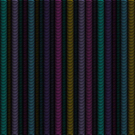 Multicolored vertical spiral stripes pipes, abstract seamless pattern, geometric ornament, grunge rainbow optical illusion. Colorful bright semicircles springs on black background. Vector illustration