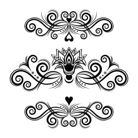 Set abstract floral ornament, delimiter, frame, border, pattern, black and white drawing with curls, swirl, flower, hear, decorative element, tattoo, isolated on white background. Vector illustration