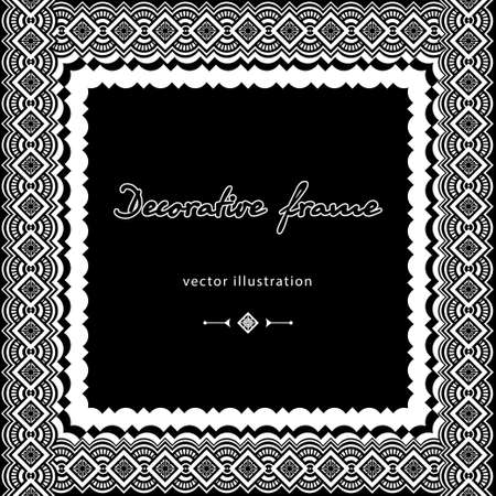 Patterned wicker frame, black and white border, ethnic coloring ornament, monochrome decorative background, template postcard, cover, banner isolated on white background. Vector illustration Иллюстрация
