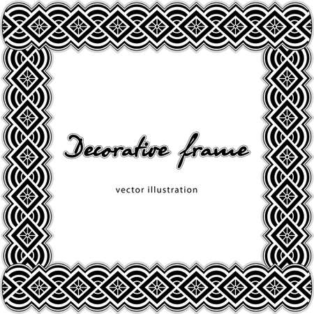Patterned wicker frame, black and white border, ethnic coloring ornament, monochrome decorative background, template postcard, cover, banner isolated on white background. Vector illustration 矢量图像