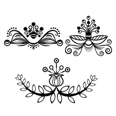 Set abstract floral ornament, delimiter, frame, border, pattern, black and white drawing with curls, swirl, flower, leaf, decorative element, tattoo, isolated on white background. Vector illustration