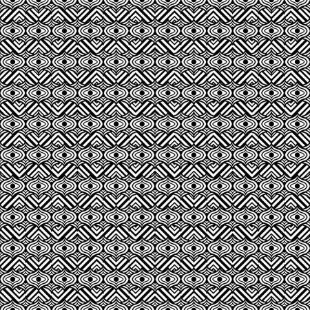 Black and white ornament, graphic ethnic seamless pattern, geometric monochrome background. For fabric design, wrapper, surface, print, texture, decoration. Vector illustration 矢量图像