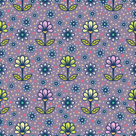 Floral seamless pattern, abstract colorful background. Cute multicolored flower with petals on stems with leaves on purple speckled backdrop. For fabric design, wallpaper, print. Vector illustration