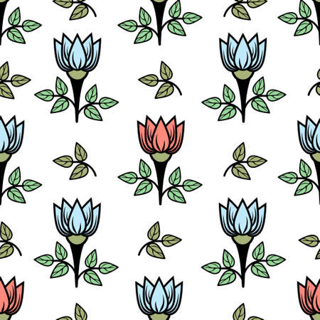 Floral seamless pattern, stylish colorful blooming background. Cute pink and blue flower buds on stems with green leaves on white backdrop. For fabric design, wallpaper, print. Vector illustration Vectores