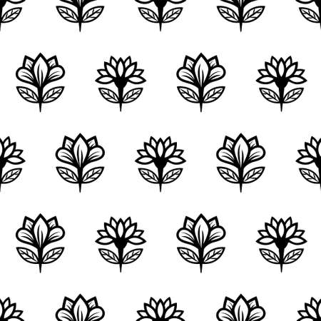 Floral line seamless pattern, black and white drawing, monochrome blooming, coloring sketch, background. Cute flower buds on stems with leaves.