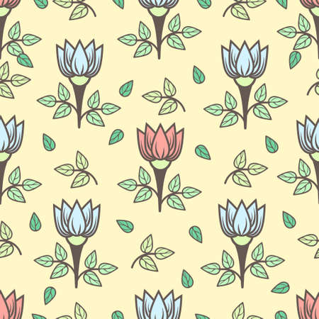 Floral seamless pattern, stylish colorful blooming background. Cute pink and blue flower buds on stems with green leaves on yellow backdrop.