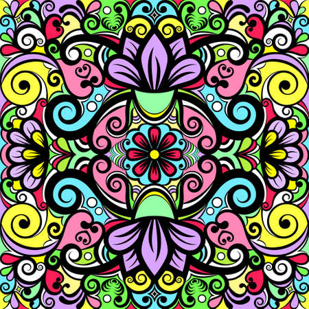 Floral abstract ornament, bright colorful pattern, multicolored background, ethnic tracery, hand drawing. Ornate decoration with flowers and curls with black outline isolated. Vector illustration 矢量图像