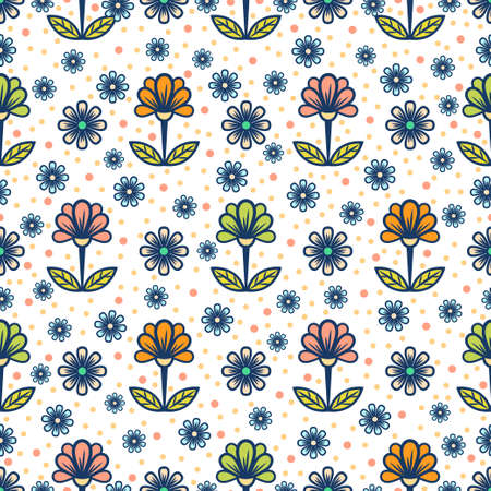 Floral seamless pattern, stylish colorful blooming background. Cute multicolor buds on stems with green leaves on white speckled backdrop. For fabric design, wallpaper, print. Vector illustration